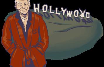 hugh hefner in front of the hollywood sign